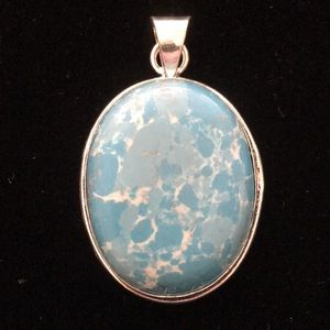 Gorgeous LARIMAR Pendant, Sterling silver setting.